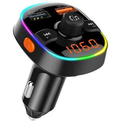 Car QC3.0 Bluetooth Aux Modulator Handsfree FM Transmitter RGB LED MP3 Player Dual USB Charger