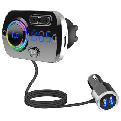 QC3.0 Fast Charge Car FM Transmitter Bluetooth MP3 Player Handsfree RGB LED Dual USB Charger