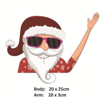Christmas Santa Lovely Claus 3D PVC Waving Car Stickers Window Wiper Decals Rear Windshield Decor