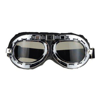 Motorcycle Windproof Helmet Scooter Goggles Black Leather Silver Frame Pilot Style Universal