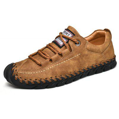 Mens Outdoor Genuine Leather Sewing Thread Flats Shoes