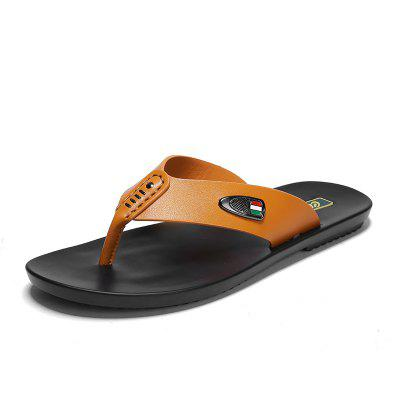 Mens Stylish Genuine Leather Casual Slippers Flip Flops Beach Shoes