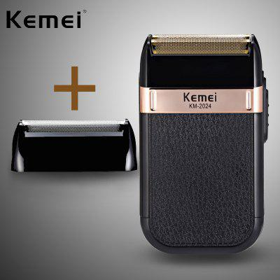 Kemei electric razor mens double blade waterproof reciprocating cordless razor