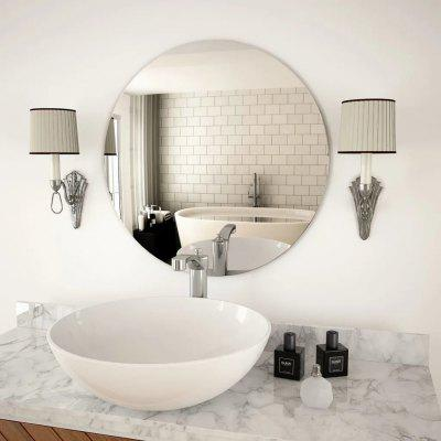 Round Glass Wall Mirror For Bedroom Dressing Room Platinum 60cm