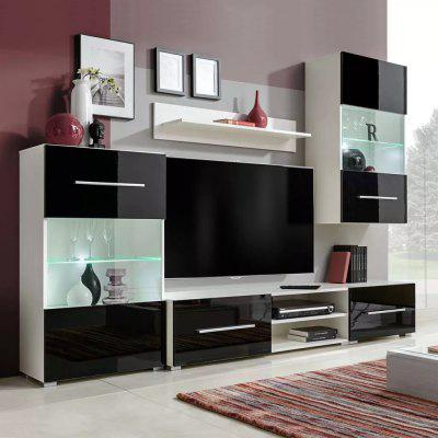 Wall-Mounted TV Stand With LED Light 5Pcs Wall Cabinet Standing Shelf Decoration Storage