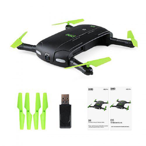 DHD D5 Mini Foldable RC Pocket Quadcopter BNF WiFi FPV 0.3MP Camera Waypoints