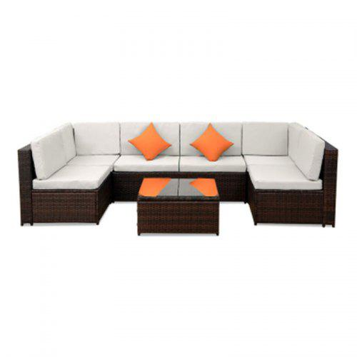 Patio Furniture Sofa Set Wicker Chair for Outdoor Yard Swimming Pool