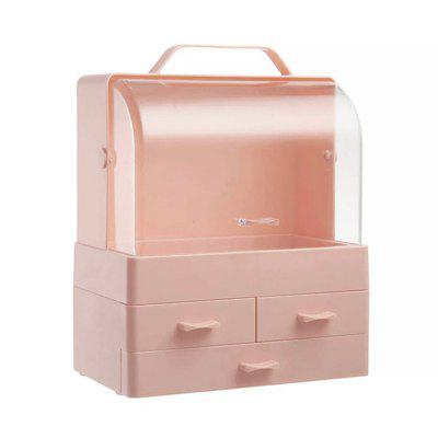 Small Desktop Makeup Organizer Cosmetic Storage Box with Dustproof Lid