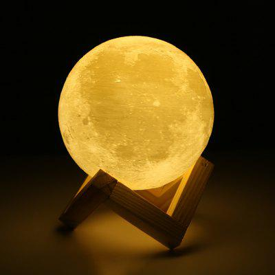 18cm Rechargeable 3D Print Moon Lamp Touch Switch Bedroom Bookcase Night Light Home Decoration