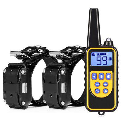 800m Waterproof Rechargeable Remote Control Dog Electric Training Collar with 2 Receivers