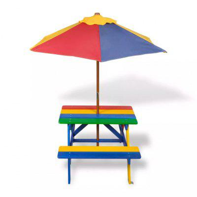 Kids Outdoor Picnic Table Benches with Parasol in Four Colours