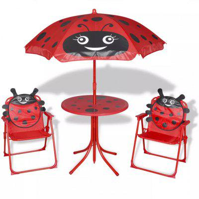 ES Warehouse 3 Piece Garden Bistro Set Table 2pcs Chairs with Parasol Red for Kids