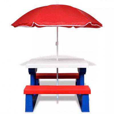 ES Warehouse Kids Picnic Table Bench with Umbrella Outdoor Garden Desk with Chair