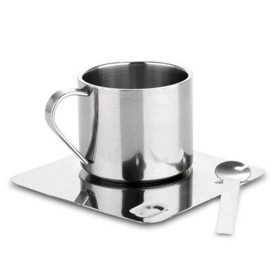 Stainless Steel Coffee Tea Cup with Saucer Spoon Double Wall Hot and Cold Drinks Thermal Mugs