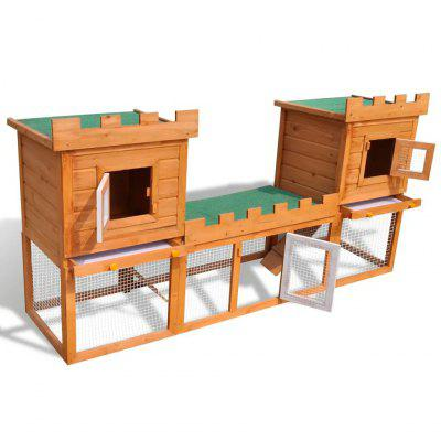 Outdoor Large Rabbit Hutch House Pet Cage Double House for Playing Exercising Training ML102
