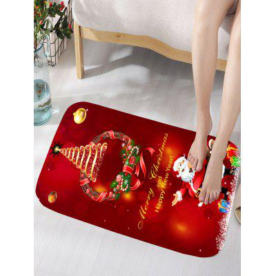 Christmas Wreath Santa Claus Print Flannel Bath Rug