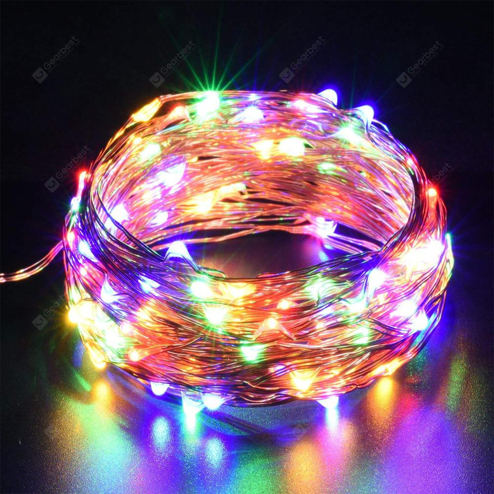 5-10m 50-100 LEDs String Lights Copper Wire USB Operated Waterproof Decorative Fairy Starry Lights - silvery Multicolor 10m