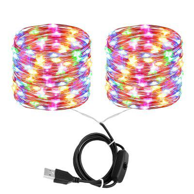 ZDM 2x10M 200 PCS LED Waterproof Copper Wire lights Fairy String USB Port with Switch Direct DC5V