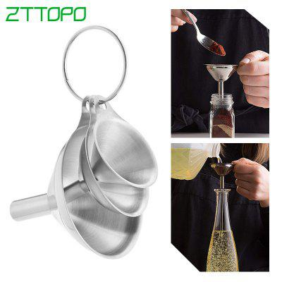 3pcs  Multifunctional Stainless Steel Funnel Essentail Oil Water Spices Wine Flask Filter Funnel