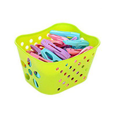 Laundry Clothes Pins Hanging Pegs Clip Plastic Hanger Rack Clothespin with Basket for Home Supplies