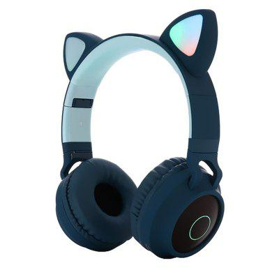 leeHUR Kids Cat Headphone Foldable Over-Ear Bluetooth 5.0 Headset with LED Light Support TF Card