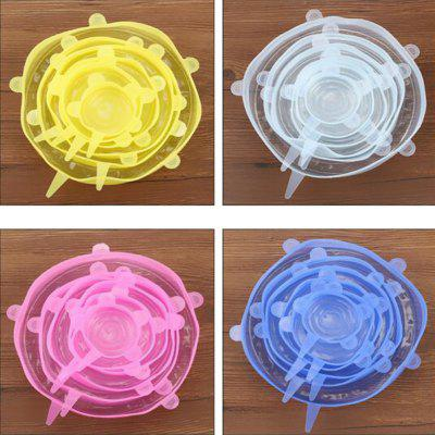 leeHUR 6PCS Silicone Lid Stretch Food Fresh Cover Reusable Kitchen Bowl Pot Fresh-Keep Sealing Cap