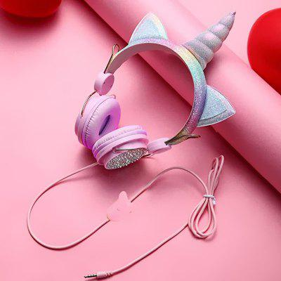 leeHUR Cute Unicorn Headphone 3.5mm Wired Headset for Children Kids Birthday Gifts