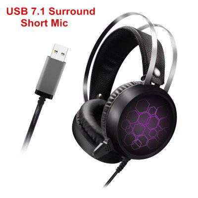 USB 7.1 Surround Sound USB Wired Gaming Headset with Microphone Gamer Headphones for Xbox One PS4