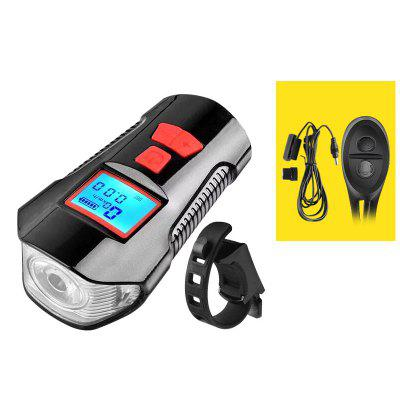 4 Mode USB Rechargeable Bike Light Waterproof Bicycle Front Lamp Flashlight Cycling Headlight w/ Horn Speed Meter Function