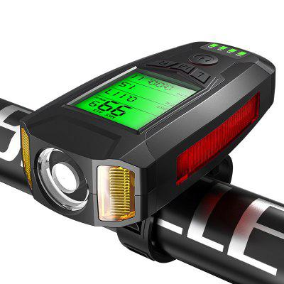 5 Mode Bike Light Front Lights Bicycle Handlebar Headlight with Horn Speed Meter LCD Screen Cycling Accessories
