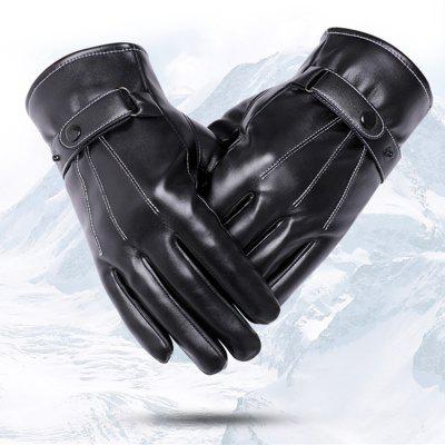 Bike Warm Gloves Autumn Winter Wind Prood PU Black Full Finger for Bicycle Cycling Motorcycle Driving Ski Hiking Mittens