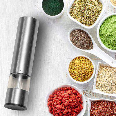 Electric Pepper Grinder Stainless Steel One-handed Operation Spice Grain Cumin Mill with LED Light for Home Kitchen Tools