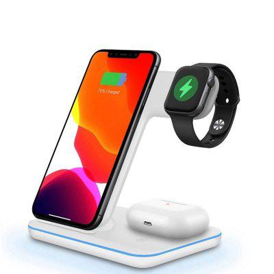 qi wireless charger 3 in 1 holder stand charger for watch apple watch series 4 3 2 iphone xs max xr 8 plus x 8 airpods 15W 3 in 1 Qi Fast Wireless Charger Pad Dock Station For iPhone 12 11 Pro XS Max XR X 8 iWatch 5 4 3 AirPods Pro 2