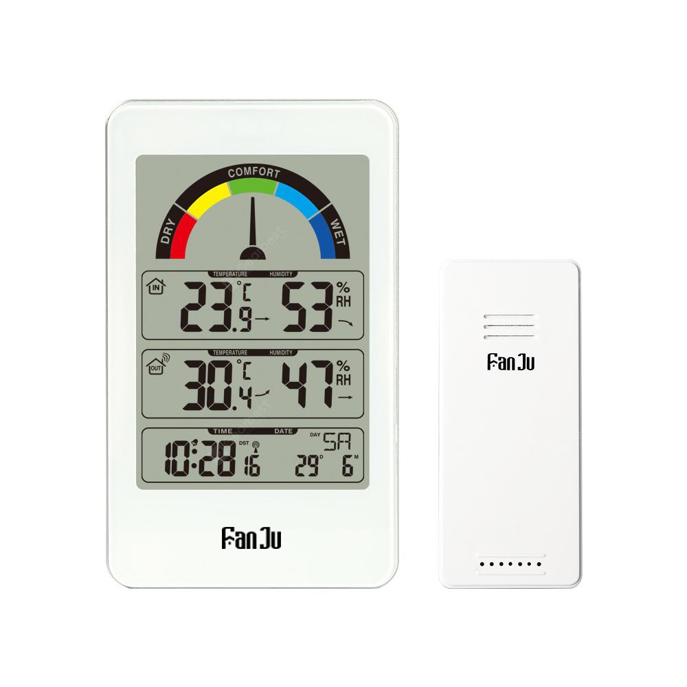 FanJu FJ3356 Weather Station Clock with Outdoor Sensor Temperature Humidity Meter Thermometer White - China