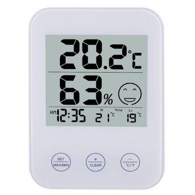 FanJu FJ718 Weather Station Digital Thermometer Hygrometer Clock with Temperature Humidity White