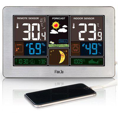 FanJu FJ3378S Color Weather Station with USB Charger Temperature Humidity Moon Phase Outdoor Sensor
