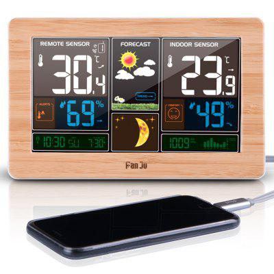 FanJu FJ3378W Color Weather Station with USB Charger Temperature Humidity Moon Phase Outdoor Sensor