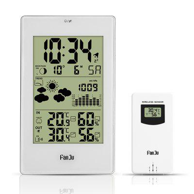 FanJu FJ3352 Weather Station with Outdoor Sensor Atomic Clock Temperature and Humidity Barometer