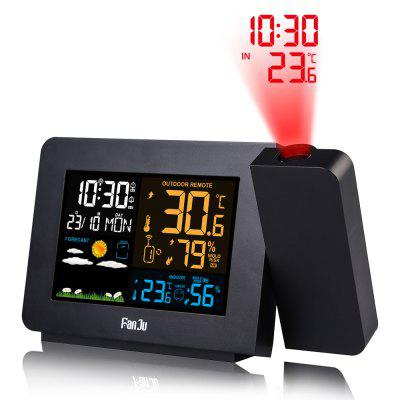 FanJu FJ3391 Color Weather Station Radio Alarm Clock with Time Projection Temperature Humidity