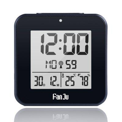 FanJu FJ3533 Small Digital Alarm Clock with Dual Alarm Back-light Tempertature Humidity Snooze Black