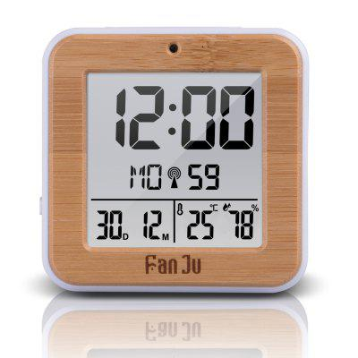 FanJu FJ3533 Small Digital Alarm Clock with Dual Alarm Night Light Tempertature Humidity Snooze Wood