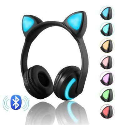 Wireless Bluetooth Stereo Gaming Headset Cat Ear LED Foldable Headphones