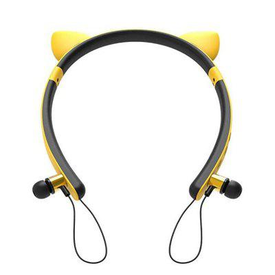 Cute Cat Ear Bluetooth 4.2 HIFI Stereo Sound Headphone Magnet Adsorption Sports Earphone