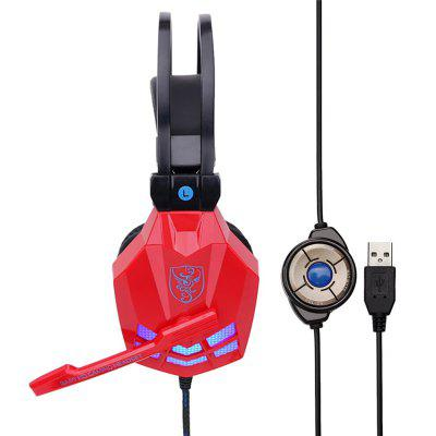 Game Headset Stereo with Sound Card Headphones Mic LED Wired USB Interface Gaming Earphones