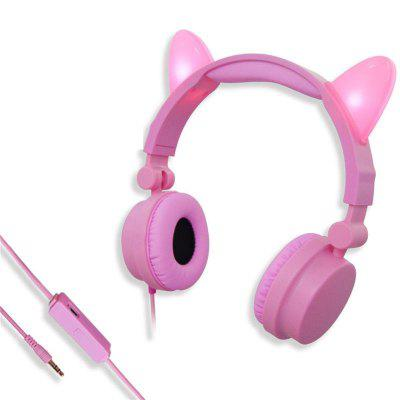 Wireless Bluetooth Earphones Stereo Cute Cat Ear Flashing Glowing Noise Cancelling Gaming Earbuds