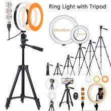 16cm 26cmLED Anillo de luz con trípode 360 ​​rotación Temperatura Soft USB ajustable 3 luces Color