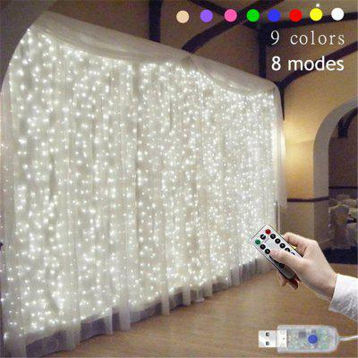 9 Colors Lights Christmas Wedding Decoration Curtain String Light Remote-control 8 Modes USB Lamp
