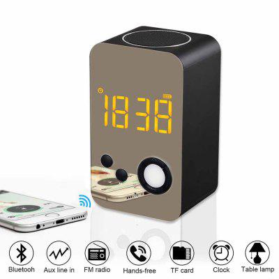 Portable Bluetooth Speaker Stereo Bass Boombox LED Handsfree Mic FM Digital Alarm Clock LED Clock