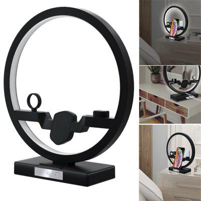 3 in1 LED Fast Qi Wireless Charger Desk Lamp for iPhone Charger Dock Station for Apple Charger Stand