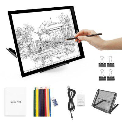 A4 LED Light Pad-Dimmable Tracing Light Pad Board Tablet W Light Box Pad Stand